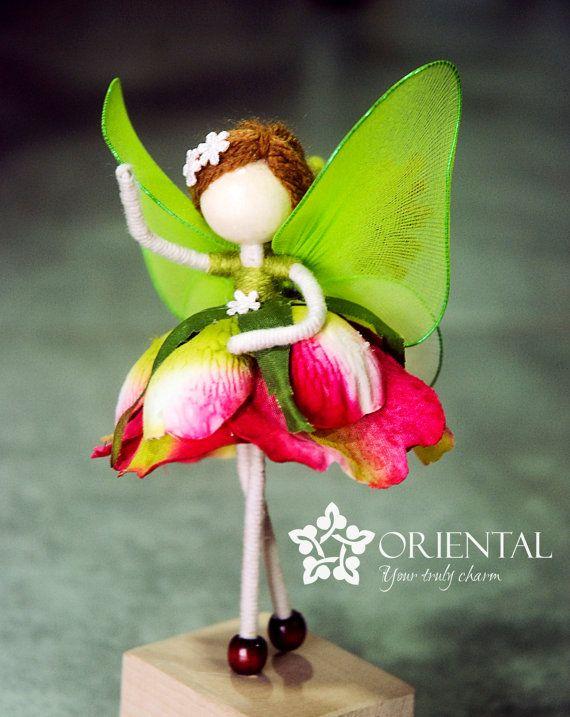 Rose Princess Doll, Green Fairy Miniature, Rose Petal Doll, No face doll, Angel Ornament