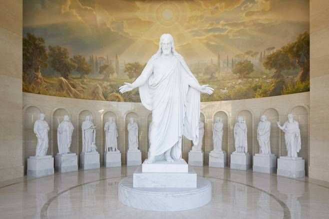 Replicas Of Thorvaldsen S Christus Statue And His 12 Ancient Apostle Statues From Originals Found In Co The Church Of Jesus Christ Mormon Temples Lds Temples