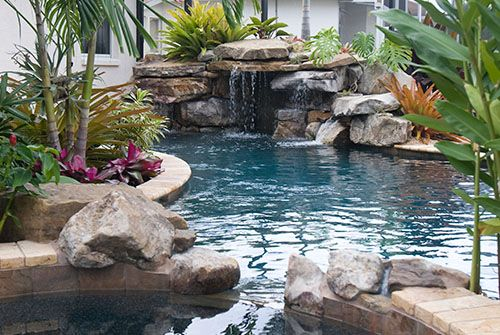 pools creak side | pool with spa and stone waterfall swimming pool lagoons swimming pool ...