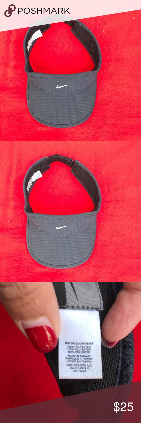 Nike visor adjustable Nike visor. One-size-fits-all with an adjustable Velcro strap. Black color with a slight black pattern and the Nike symbol on the top of the visor. fully adjustable with Velcro in the back. No rips stains or tears. Has a sweatband. Nike Accessories Hats