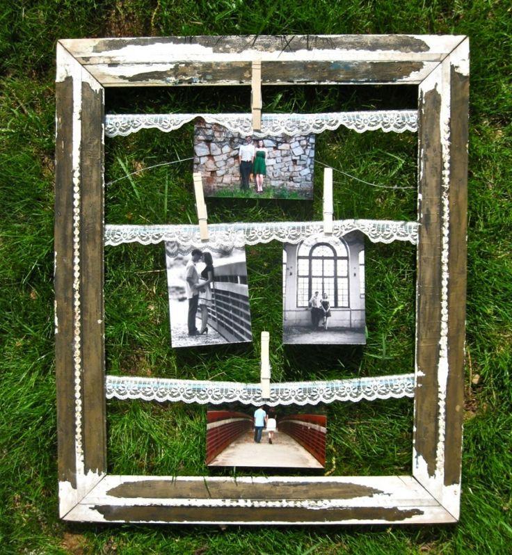 DIY Vintage Clothespin Frame: Diy Ideas, Display Photos, Hanging Pictures, Family Photos, Families Photos, Old Pictures, Cool Ideas, Photos Display, Pictures Frames