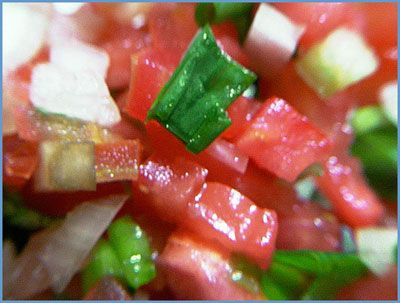 Brazilian vinaigrette is the Brazilian version of Pico de Gallo. Instead of jalapeno, it has red and green peppers.