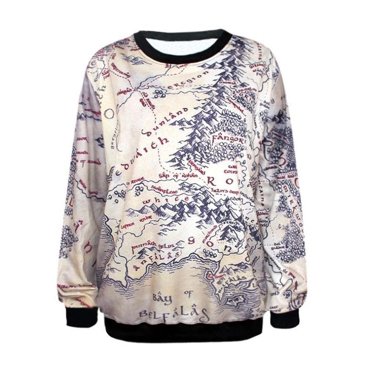 Fashion Lord of The Rings Hoodie Middle Earth Map Punk Women Sweatshirt 3D Floral Print Heart Breaker Printed Casual Hoodies