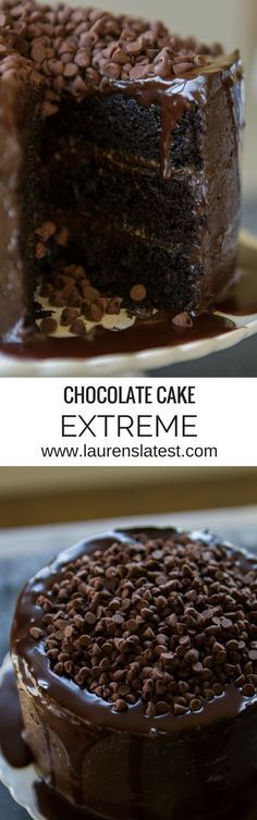 This Chocolate Cake Extreme is for the ultimate Chocolate Lovers!! Three layers of dark chocolate cake with dark chocolate frosting and topped with chocolate sauce and mini chocolate chips!