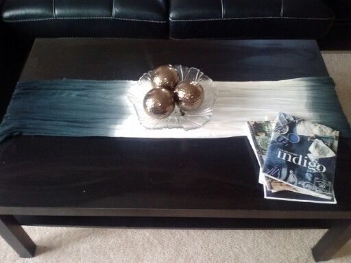 Using a Fashion Scarf as a runner to cozy up my ikea coffee table
