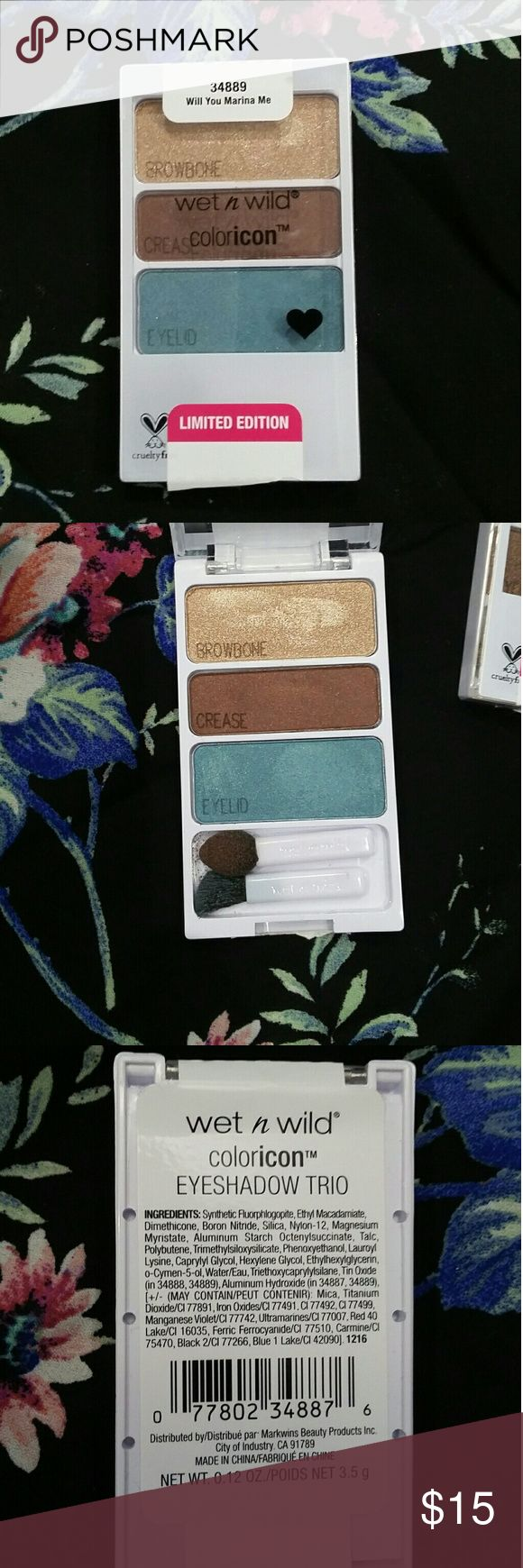 Coloricon Will You Marina Me Limited Edition Coloricon eyeshadow pots include: Gold for browbone, toasted brown for crease, and ocean teal green for eyelid. Cruelty free. Priced to sell, no offers, please! Barely used. Applicators included. Will sanitize before shipping! wet n wild Makeup Eyeshadow