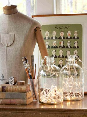 Light Up a Jug - From empty jars to illuminating conversation pieces: Fill a glass jug with Christmas lights to fashion a tricked-out table lamp.   —Sirpa Cowell, textile designer    Read more: Inexpensive Decorating Ideas - How to Decorate on a Budget - Country Living