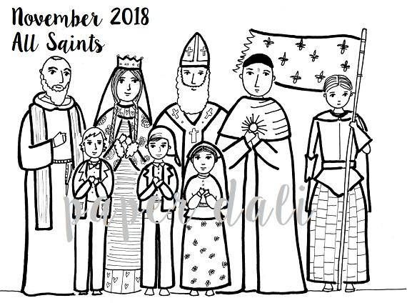 The 26-page PDF covers the first Sunday of Advent 2017 through November 2018. Each month features one full-size illustration to color and then a month-at-a-glance with miniature drawings of some favorite Catholic saints, special Sundays, and feast days. A bonus page at the end includes