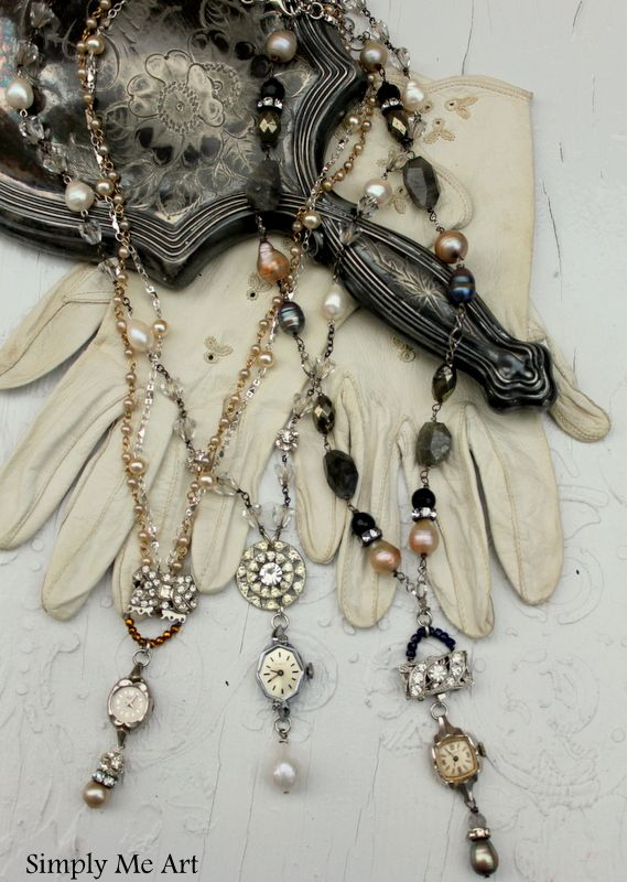 Use the rhinestone clasp as the bail for the necklace-Vintage Watch Necklaces with Bling and Pearls