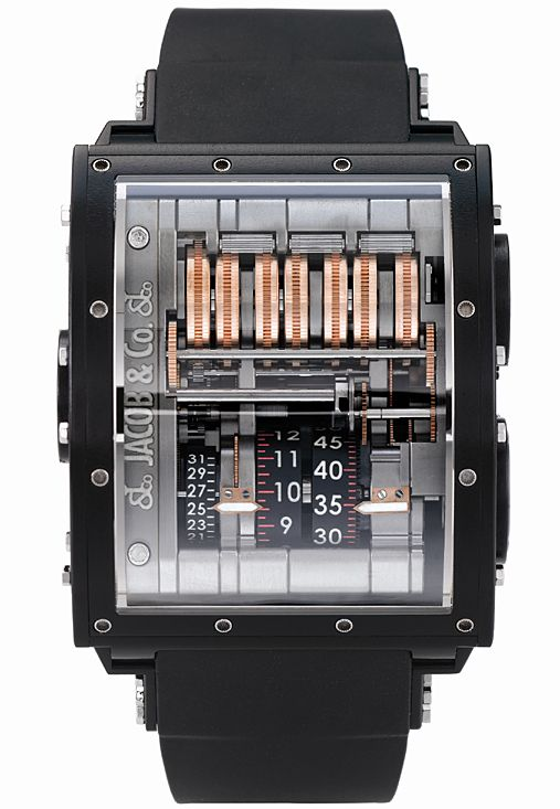 Jacob & Co швейцарские часы The Quenttin Black Magnesium - мужские наручные часы - черные