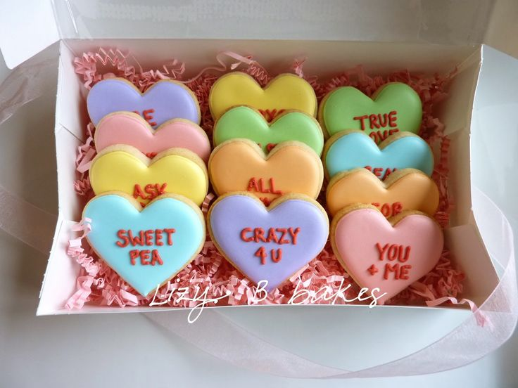 Conversation Heart Cookies #pastel | #icing | Sweets - Cookies and ...