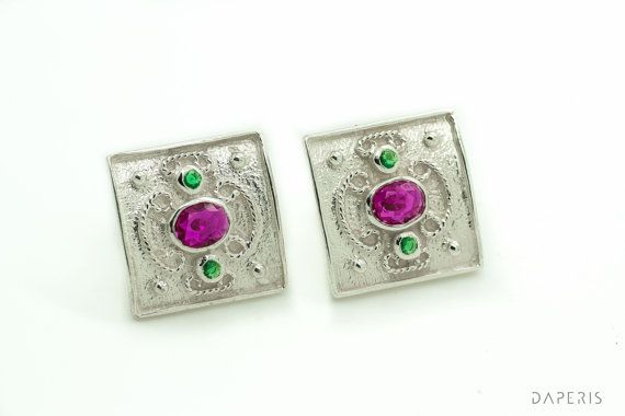 Byzantine Earrings-RubiesEmeralds-925 Sterling Silver by DAPERIS