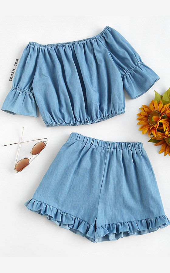 short de denim con volados