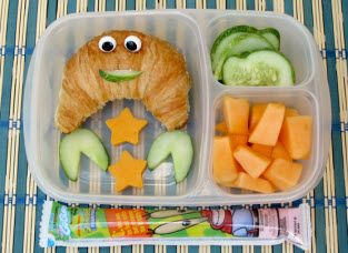 Make a crabby sandwich to go with a Krusty Krab Spongebob Go-GURT. Cut claws from a cucumber (or strawberry or cheese) and fill a croissant with your favorite sandwich fixings!
