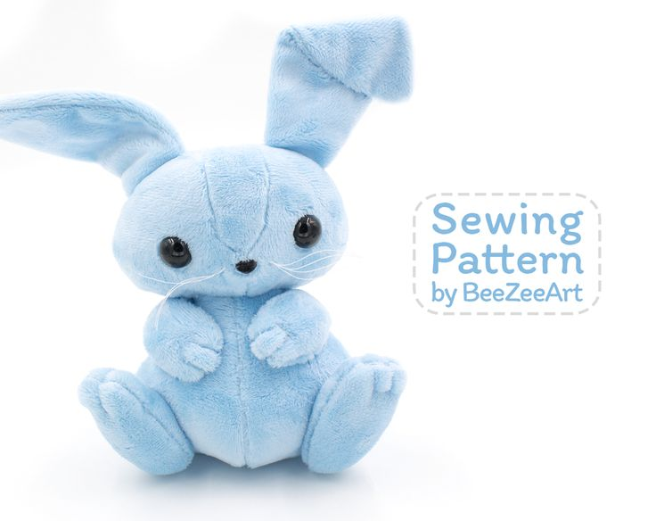 Bunny Plush Sewing Pattern, Stuffed Animal Pattern, PDF File, Digital Download - BeeZeeArt - 1