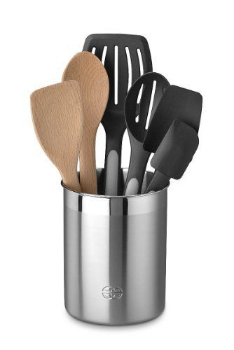 6 Kitchen Utensils Crock Set    Black Ceramic Crock With Kitchen Utensils Set by KitchenAid is perfect for any kitchen especially modern kitchens.The set contains all of the necessary kitchen utensils. Durable and high quality, even with constant use, they will still look like brand new.The crock makes it easy to organize, store, and grab what you need while cooking.  Read about the other 5 kitchen utensils crock sets here: http://kitchenutensilsset.com/6-kitchen-utensils-crock-set/