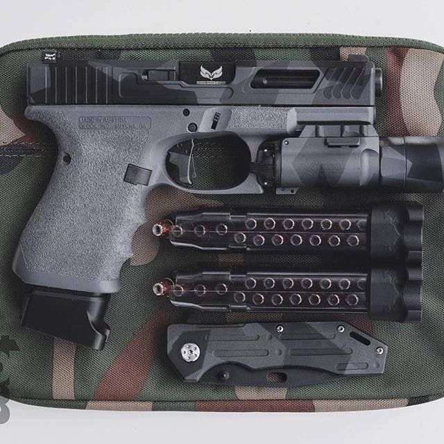 @themindofbryce Glock 19 Gen 4; Surefire X300; S3F Solutions Black, Fluted Barrel; Truglo night sights; ETS 17 Round mags;