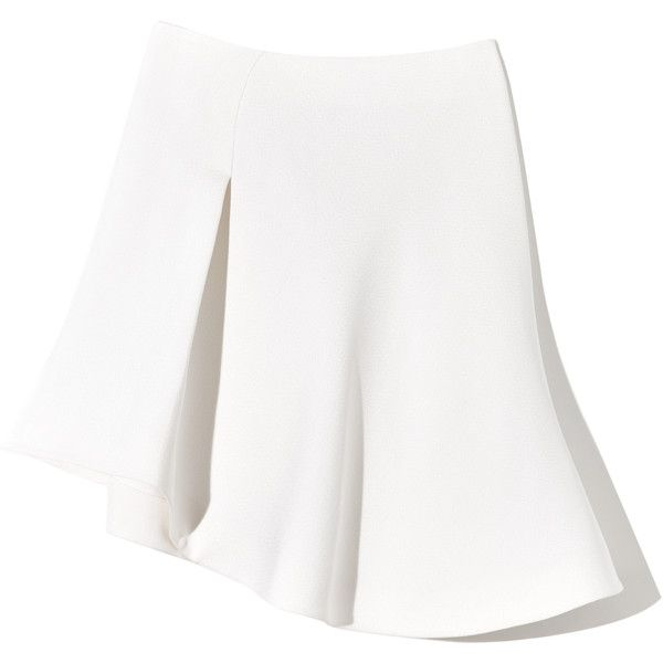MUGLER White Skirt (£1,125) ❤ liked on Polyvore featuring skirts, bottoms, white, gonne, pleated circle skirt, skater skirt, white skater skirt, pleated skater skirt and white pleated skirt