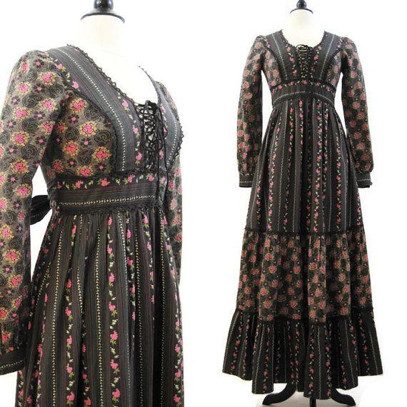 70s Gunne Sax Dress Vintage Prairie Hippie Floral by voguevintage, $85.00