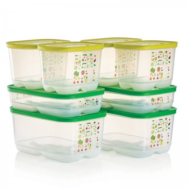 Tupperware FridgeSmart® 4-Pc. Set - Buy 1, Get 1:          Thanks to FridgeSmart's unique venting system, your summer produce will stay fresher longer.    Each set includes two 1¾ qt./1.8 L Small Deeps, one 1¾qt./1.8 L Medium, and one 1 gal./4.4 L Medium Deep   Receive two sets at this price   Dishwasher safe   Limited Lifetime Warranty