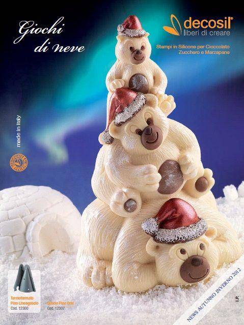 #decosil News autunno inverno 2012 - Giochi di Neve - la raccolta delle nuove proposte per il 2012 degli #stampiinsilicone alimentare professionali 3D  per #cioccolato, zucchero e gelato.