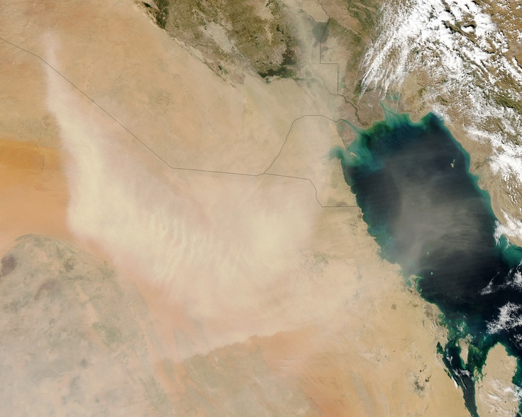 On March 24, 2013, a dust storm arose on the Arabian Peninsula, blowing through parts of Saudi Arabia, Kuwait, and Iraq. Dust also stretched across the Persian Gulf toward Iran. The Moderate Resolution Imaging Spectroradiometer (MODIS) on NASA's Aqua satellite captured this natural-color image the same day.