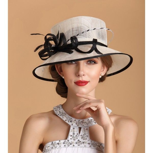 Kentucky Derby Hat Sunhat Sinamay Church Hat White Black