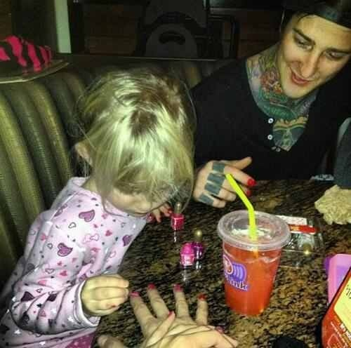 aw, Kenadee painting Mitch's and Danny's nails. <3