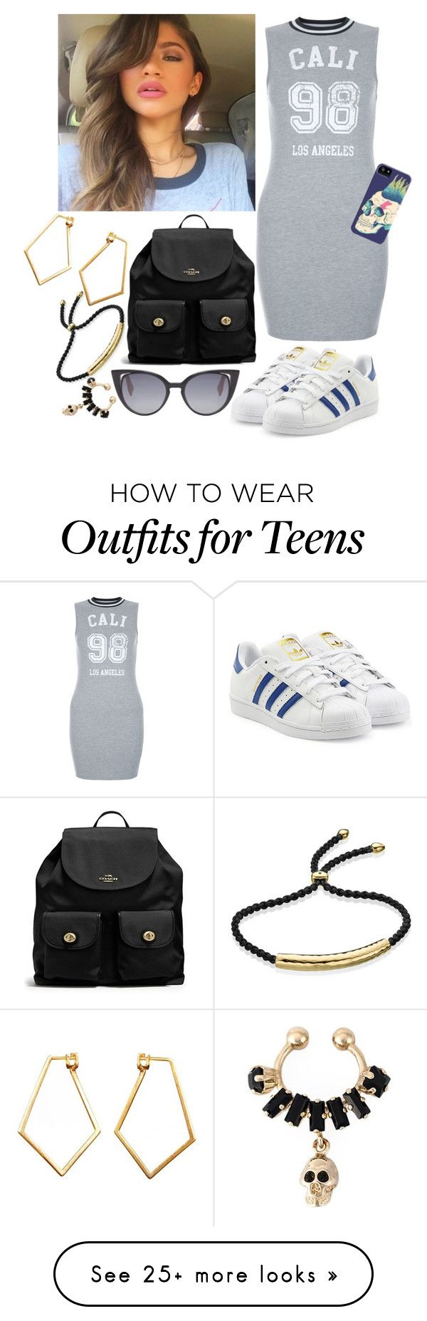 """""""Sin título #2621"""" by agus-lapipita on Polyvore featuring New Look, adidas Originals, Fendi, Coach, Dutch Basics, Monica Vinader and Givenchy"""