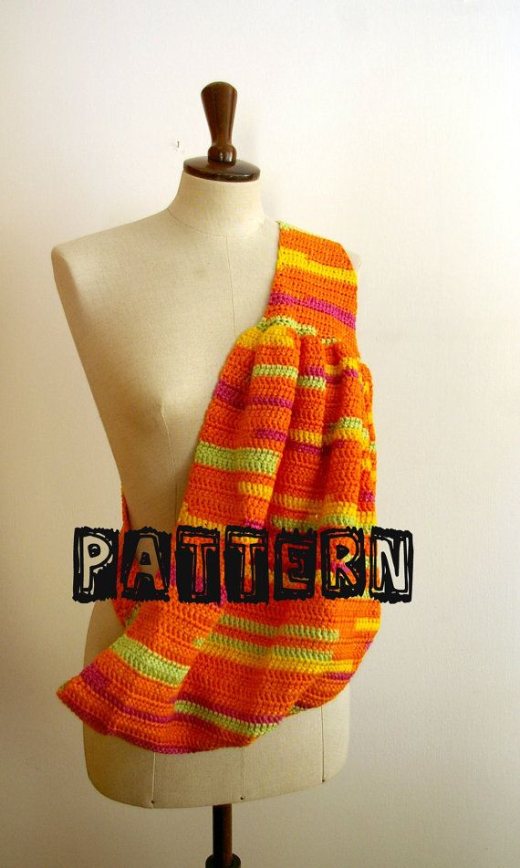 Crochet Baby Sling - This pattern is available for $5.00. Bah, yet another pattern which I had hoped would be free but maybe some of you crafty people will be able to figure it out something SIMILAR by looking at it. :(