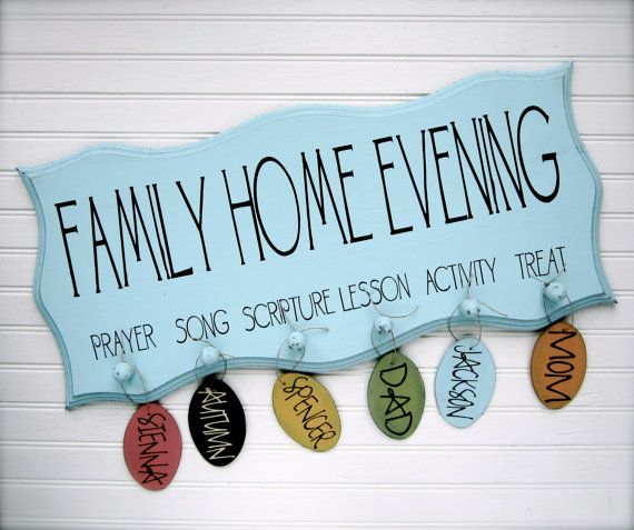 Family Home Evening Board. FHE. Scalloped Edge with Oval Tags. Organize your family home evening. via Etsy