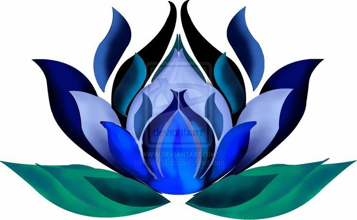 """A blue lotus symbolizes the spirit's control over one's physical senses or compulsions–mind over matter–which heightens one's spirituality by overcoming temptations of the flesh. The blue lotus represents knowledge, wisdom, and intelligence. In art, the blue lotus is always shown as partially open, the center never showing, as a means of symbolizing that the growth of mind and spirit over body is never truly finished. """