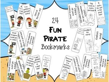 File contains 12 colored bookmarks and 12 black and white bookmarks that your students can color...all in a fun pirate theme.You might also like to check out the other Fun Pirate items I have in my store:Fun Pirate Punch Card PackFun Pirate Classroom PassesFun Pirate Group/Table SignsHope you enjoy!*****************************************************************************You can check out all of my bookmark products by clicking…