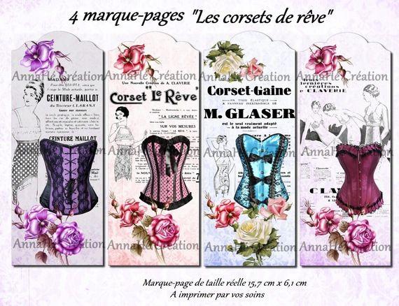 """4 marque-pages à imprimer """"Les corsets de rêve"""" BOOKMARKS"""