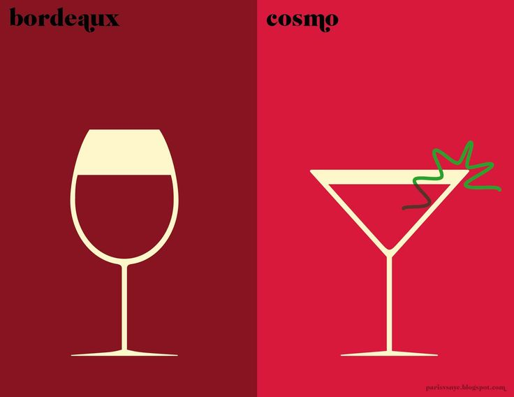 Paris VS New York.   Bordeaux vs Cosmo.