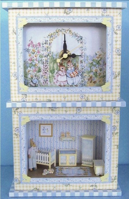 """Blue Nursery Clock and Roombox Kit in Quarter Inch or 1/4"""" or 1:48th Scale"""