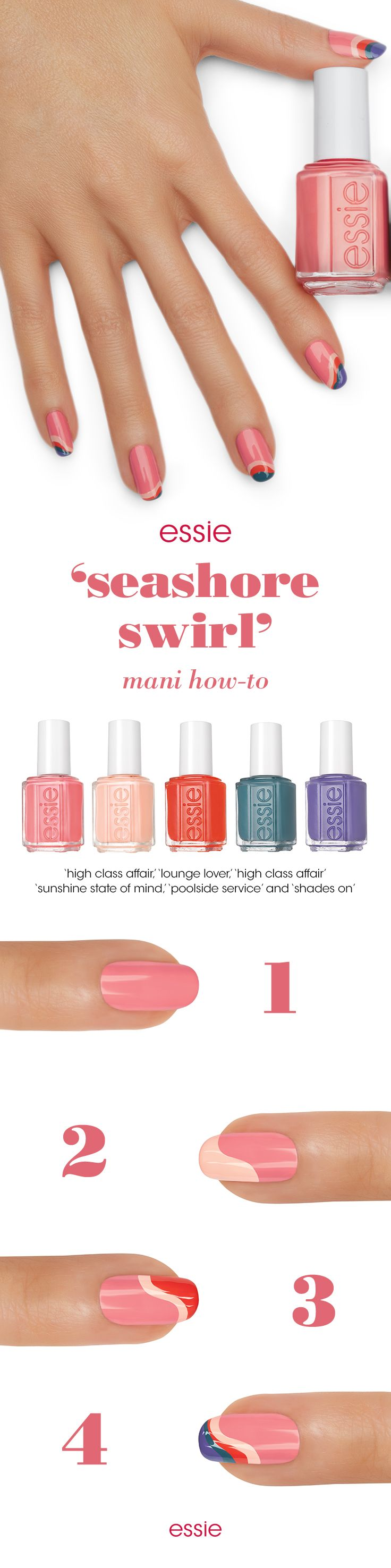 Between the sand and the sea is where I'll be. Recreate this 'seashore swirl' nail art mani designed by essie's Global Lead Educator, Rita Remark using the bold colors from the Spring 2016 collection.    Rita's Tips:  Create different sized waves on each nail.  For some nails use all 4 colors for the design, and others just 2 or 3.
