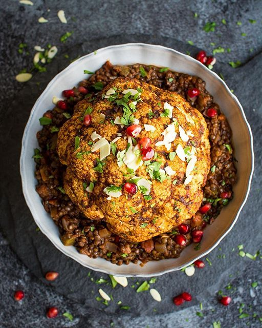 Whole Roasted Cauliflower  Over Spicy Lentils via @feedfeed on https://thefeedfeed.com/laurencariscooks/whole-roasted-cauliflower-over-spicy-lentils
