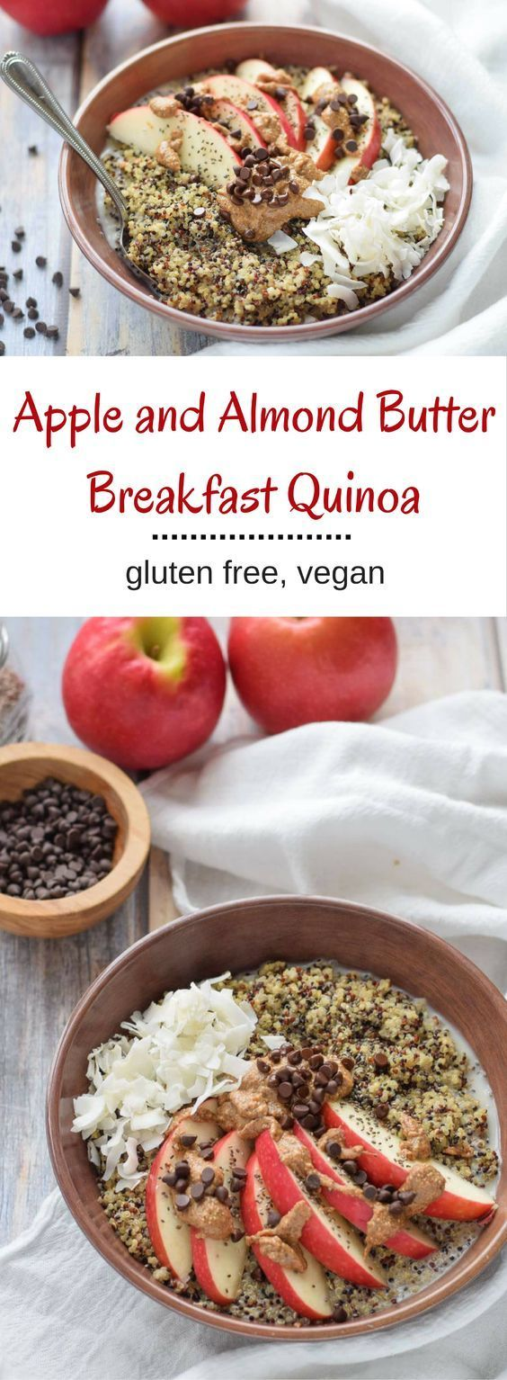 Apple and Almond Butter Breakfast Quinoa - creamy almond butter, crisp apples and vegan chocolate chips make this high protein breakfast so delicious. {gluten free, vegan} via @lkkelly98