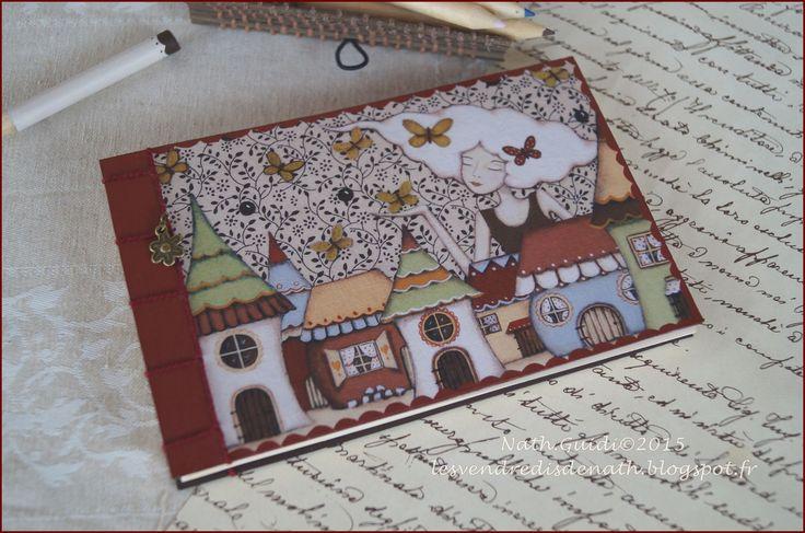 """Carnet reliure copte, couverture toilée illustrée par l'un de mes visuels.""""la semeuse de couleurs"""" : Carnets, agendas par les-vendredis-de-nath"""