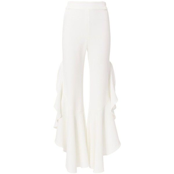 Jonathan Simkhai Women's White Long Ruffle Pants ($575) ❤ liked on Polyvore featuring pants, white, ruffle pants, stretch waist pants, white wide leg trousers, long pants and elastic waistband pants