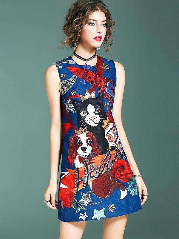 Cute O-Neck Sleeveless Animal Print Mini Dress from DressSure.com #dresssure #fashion #dresses #HighQuality