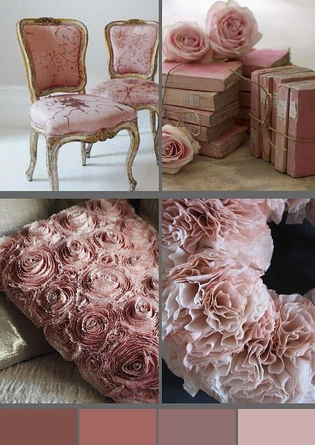 French Country Shabby Chic Pink Home Decor Books Antique Victorian Chair, Color Palette