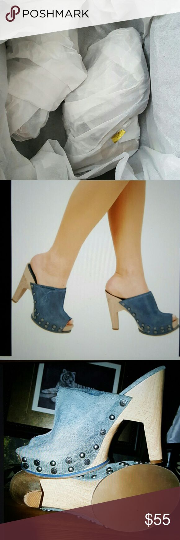 "RESERVED FOR TANEA💐CALVIN KLEIN JEANS CLOGS SZ 8M SALE CALVIN KLEIN JEANS CLOGS SZ 8M leather color blue beautiful  suede heel 4.5"" wooden platform 1.5"" silver tone logo stud details Calvin Klein Jeans Shoes Mules & Clogs"