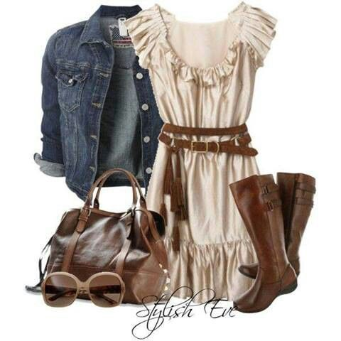 Cute country style dress ensemble: Favorite Style, Clothing Ideas, Jeans Jackets, Plays