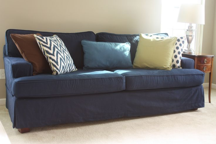 Sofa covered in blue denim denim fabrics pinterest blue denim couch covers and sofas Blue loveseat slipcover