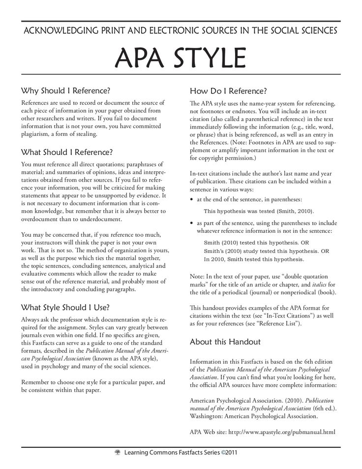 apa 6th edition style