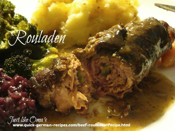 Wunderbar! Beef rouladen. Check out  http://www.quick-german-recipes.com/beef-rouladen-recipe.html