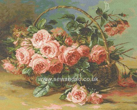 Buy Basket of Roses Cross Stitch Kit Online at www.sewandso.co.uk