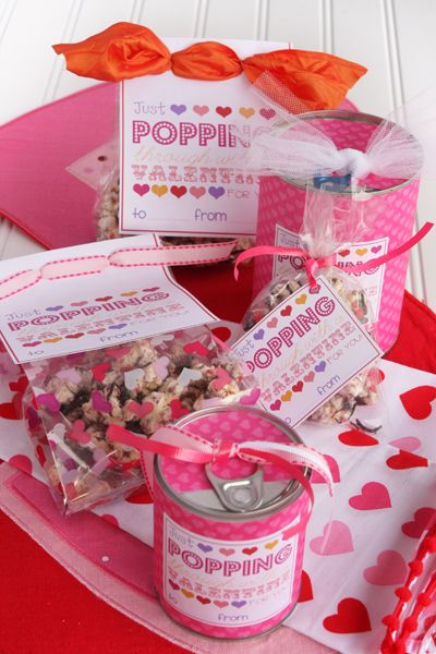 "One of my favorite free Valentine Printable Sets: ""Just 'popping' through with a Valentine for you!""  Perfect for popcorn mixes!  Files for both celo bags and Tin Can gifts."